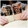 (025-702)เคสมือถือไอโฟน case iphone 5/5s/SE เคสขอบนิ่มพื้นหลังแววกึ่งกระจก แหวนมือถือรูปหมี