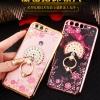 (025-262)เคสมือถือ Huawei P10 เคสนิ่มขอบชุบแววหลังใสลายดอกไม้ประดับคริสตัลแหวนโลหะสวยๆ