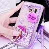 (559-039)เคสมือถือซัมซุง Case Samsung S6 Edge เคสพลาสติกใสทรายดูด Glitter ประดับแหวนโลหะสวยๆ