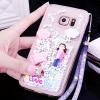 (559-038)เคสมือถือซัมซุง Case Samsung S6 Edge Plus เคสพลาสติกใสทรายดูด Glitter ประดับแหวนโลหะสวยๆ