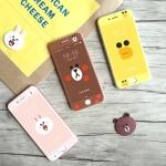 (513-040)ฟิล์มมือถือไอโฟน iPhone7 Plus ฟิล์มกระจกนิรภัยลายตัวการ์ตูนไลน์