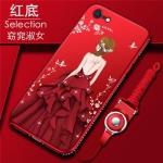 (025-755)เคสมือถือไอโฟน Case iPhone7/iPhone8 เคสนิ่มซิลิโคนลายการ์ตูนผู้หญิง ขอบเพชรพร้อมสายคล้องคอถอดแยกได้