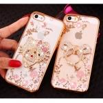 (025-1101)เคสมือถือไอโฟน case iphone 5/5s/SE เคสนิ่มซิลิโคนใสลายหรูติดคริสตัล พร้อมแหวนเพชรวางโทรศัพท์
