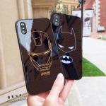 (633-008)เคสมือถือไอโฟน Case iPhone X เคสนิ่มพื้นหลังกระจกลายไอรอนแมน แบทแมน