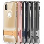 (436-233)เคสมือถือไอโฟน Case iPhone X เคสนิ่มใสขอบพลาสติกพร้อมขาตั้งในตัวสไตล์กันกระแทกแฟชั่น