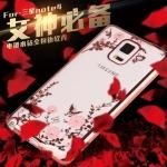 (436-084)เคสมือถือซัมซุงโน๊ต Case Note4 เคสนิ่มใสขอบแววพื้นหลังลายดอกไม้