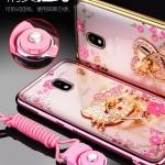 (025-558)เคสมือถือซัมซุง Case Samsung J5 Pro เคสนิ่มซิลิโคนใสลายหรูติดคริสตัล พร้อมแหวนเพชรวางโทรศัพท์ และสายคล้องคอกดแยกออกได้