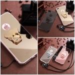 (025-973)เคสมือถือไอโฟน Case iPhone 6Plus/6S Plus เคสขอบนิ่มพื้นหลังแววกึ่งกระจก พร้อมแหวนมือถือรูปหมีและสายคล้องคอถอดแยกสายได้