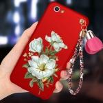 (694-015)เคสมือถือ Case OPPO R9s เคสนิ่มคลุมเครื่องสีแดงลายดอกไม้แฟชั่นสวยๆ พร้อมสายคล้องมือลายดอกไม้