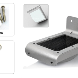 โคมไฟโซล่าเซลล์ 16 LED outdoor stainless steel Sound Sensor Solar light