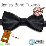 James Bond Tuxedo - หูกระต่าย สีดำ (21) ทักสิโด เนื้อผ้าผิวมันเรียบ Premium+ เกรต A (BT028A) by WhiteMKT
