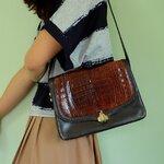 fp0188(B+) กระเป๋าหนังแท้ ผสมหนังจระเข้