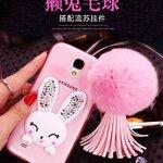 (360-001)เคสมือถือซัมซุงกาแล็คซี่ Case S4 เคสนิ่มใสประดับคริสตัลกระต่ายหูตั้งโทรศัพท์ได้