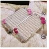 (011-008)เคสมือถือไอโฟน 4/4s Case iPhone เคสนิ่มใสประดับมุขคริสตัลเต็มหลังเคสติดโบว์