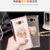 (025-220)เคสมือถือซัมซุง Case Samsung Galaxy J7(2016) เคสนิ่มใสขอบชุบลายดอกไม้ประดับแหวนโลหะ