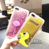 (513-080)เคสมือถือไอโฟน Case iPhone 7 เคสพลาสติกใสทรายดูดเป็ดเหลืองและนกกระยางสีชมพู