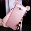 (022-084)เคสมือถือซัมซุง Case Samsung A8 เคสนิ่มใสหูมิกกี้เมาส์ประดับเพชร