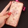 (025-392)เคสมือถือไอโฟน Case iPhone 6Plus/6S Plus เคสนิ่มขอบชุบแววหลังใสลายดอกไม้ประดับคริสตัลแหวนโลหะสวยๆ
