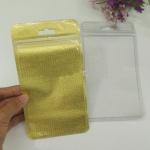 (428-001)ซองซิปพลาสติกสีทองลายถักทอสุดหรูใส่เคสโทรศัพท์ขนาด 12X22CM จำนวน 100 ซอง สีทอง