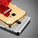 (025-242)เคสมือถือซัมซุง Case Samsung A8(2016) เคสโลหะพื้นหลังพลาสติกอะคริลิคแววคล้ายกระจก