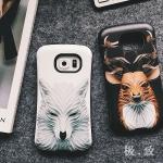 (496-005)เคสมือถือซัมซุง Case Samsung S6 เคสนิ่มสไตล์กันกระแทกลาย 3D กราฟฟิคหมาป่า กวาง นกฮูก