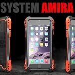(471-006)เคสมือถือไอโฟน case iphone 5/5s/SE เคสเกราะโลหะ+กระจก+เคสนิ่มลายเคฟล่า SYSTEM AMIRA