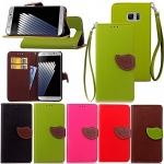 (484-004)เคสมือถือซัมซุง Case Samsung Galaxy Note7 เคสนิ่มสไตล์สมุดเปิดข้างทรงใบไม้