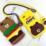 (513-010)เคสมือถือไอโฟน Case iPhone 6/6S เคสนิ่มหมีแฮมเบอร์เกอร์และมันฝรั่ง
