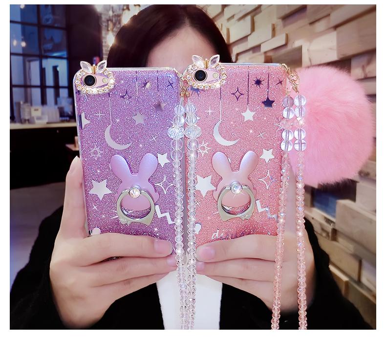 (514-004)เคสมือถือ Case OPPO R9s Plus เคสนิ่มกระต่าย Bunny Glitter