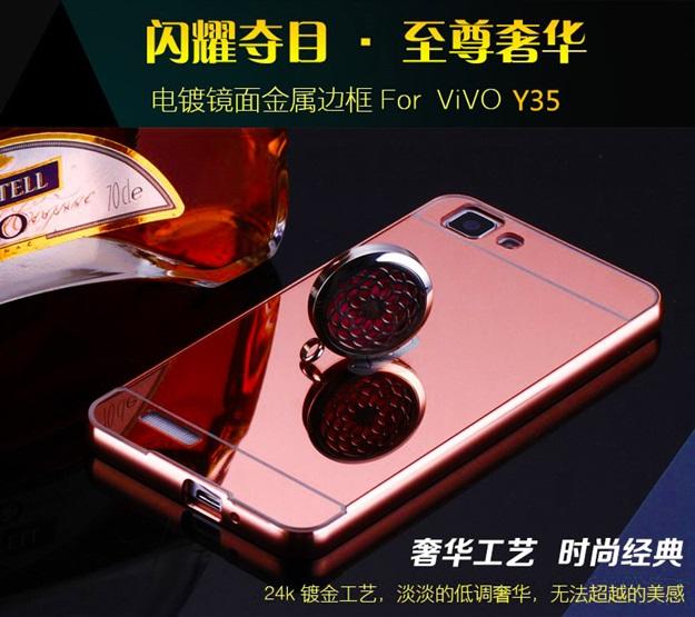 (025-095)เคสมือถือวีโว่ Vivo Y35 เคสกรอบโลหะพื้นหลังอะคริลิคแวววับคล้ายกระจกสวยหรู