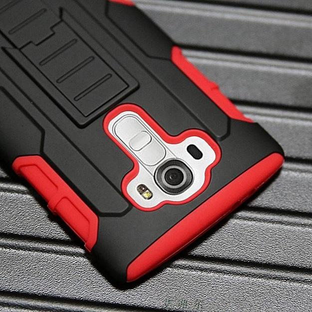 (002-169)เคสมือถือ LG G4 เคสนิ่ม+พื้นหลังประกบแบบพลาสติก+มีขาตั้ง+ที่เหน็บเอวสไตล์กันกระแทก