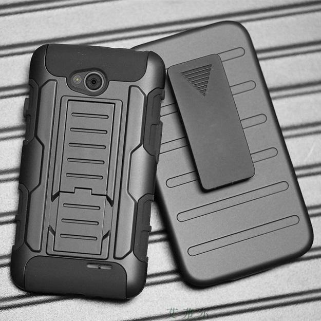 (002-125)เคสมือถือ Case LG L70 เคสนิ่ม+พื้นหลังประกบแบบพลาสติก+มีขาตั้ง+ที่เหน็บเอวสไตล์กันกระแทก