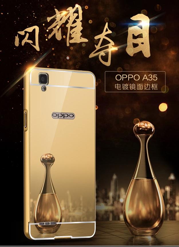 (025-046)เคสมือถือ Case OPPO F1 (A35) เคสกรอบบัมเปอร์โลหะฝาหลังอะคริลิคเคลือบเงาแวว