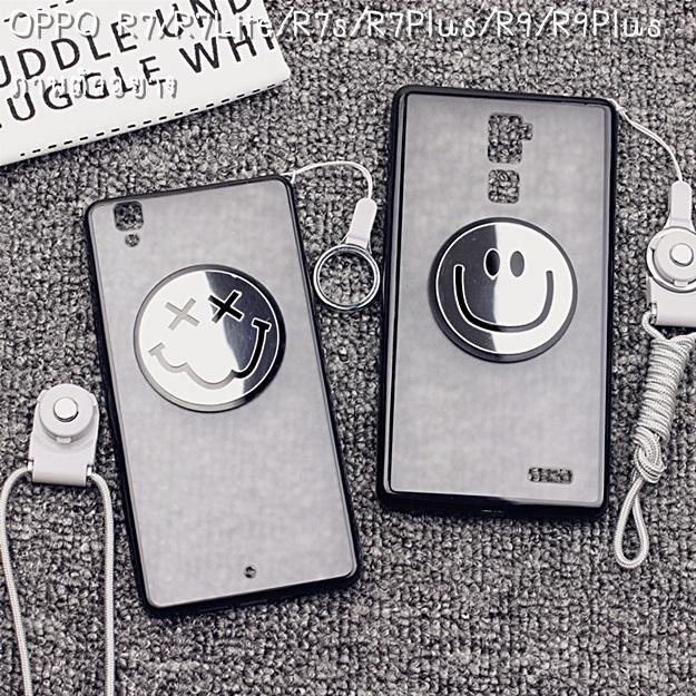 (406-043)เคสมือถือ Case OPPO R7s เคสนิ่มพื้นหลังพลาสติกใสลายอมยิ้ม