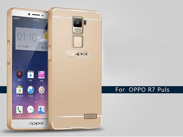 (025-063)เคสมือถือ Case OPPO R7 Plus เคสกรอบบัมเปอร์โลหะฝาหลังอะคริลิคทูโทน